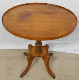 Oval Yew Pedestal Tripod Wine Table